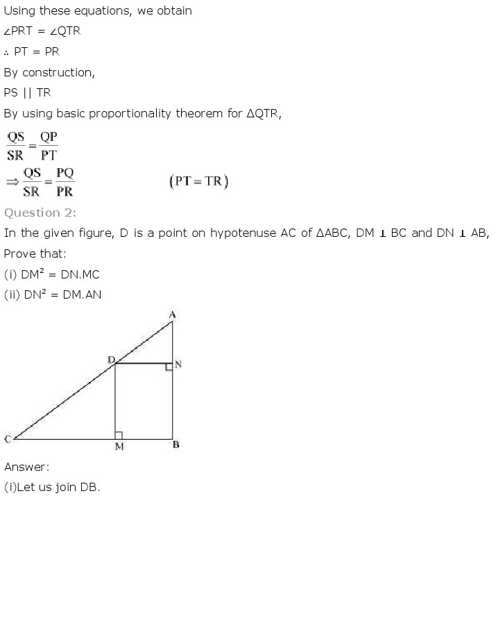 NCERT Solutions for Class 10th Maths: Chapter 6   Triangles Image by AglaSem