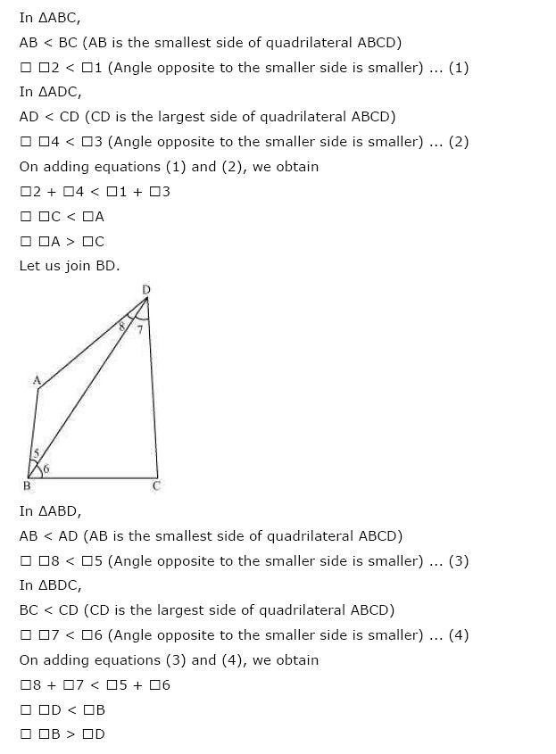 NCERT Solutions for Class 9th Maths: Chapter 7 Triangles