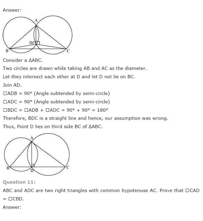 NCERT Solutions for Class 9th Maths: Chapter 10 Circles