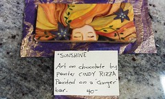"<p>""Sunshine"" is Original Art on Chocolate by painter Cindy Rizza. A one of a kind bar. SOLD</p>"
