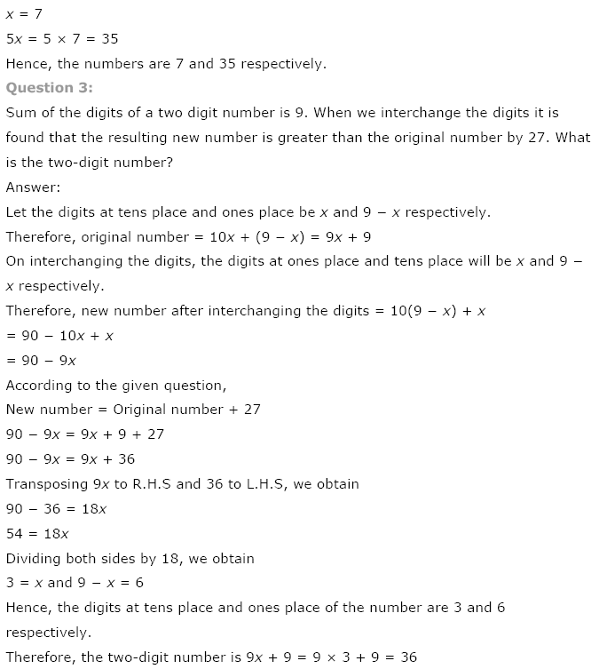 NCERT Solutions for Class 8th Maths Chapter 2 Linear Equations in One Variable
