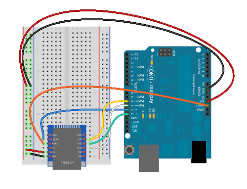 WizNet WIZ820io and Arduino Uno breadboard layout