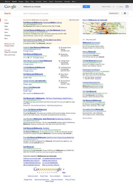 Searching for 'Melbourne car removals' on Google