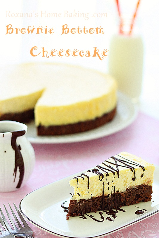 Brownie Bottom Cheesecake from Roxanashomebaking.com A creamy cheesecake baked on top of a rich, chocolate-y, fudgy brownie.