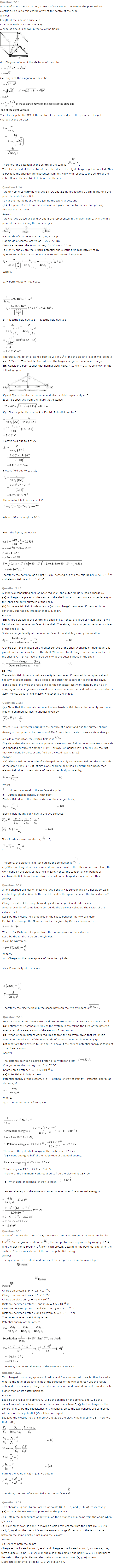 NCERT Solutions for Class 12th Physics Chapter 2   Electrostatic Potential And Capacitance