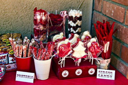red and white candies, homemade candy pretzels, homemade candy circus lollipops