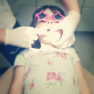 First trip to the dentist. Just a check up and clean... What a brave girl!