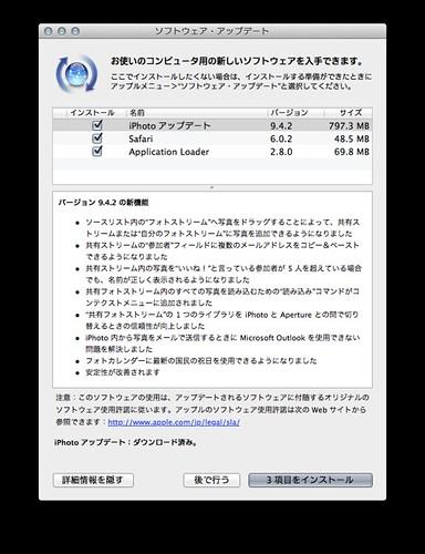 iPhotoアップデート 9.4.2