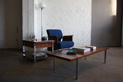 ***SNEAK PEEK*** Blinged Out Rare Mid Century Modern Lane Walnut and Chrome Coffee & End Tables (U.S.A., 1967)