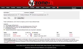 zone-h screenshot of webgrrrl.net hacking