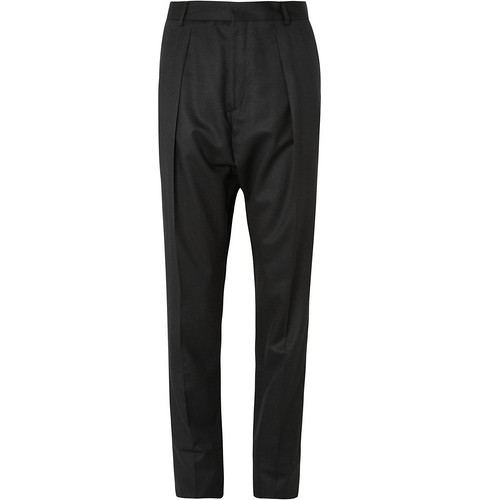 GIVENCHY  DOUBLE-PLEATED DROP-CROTCH WOOL TROUSERS