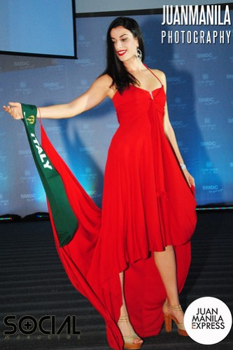 Giulia Capuani from Italy flaunts her red dress.