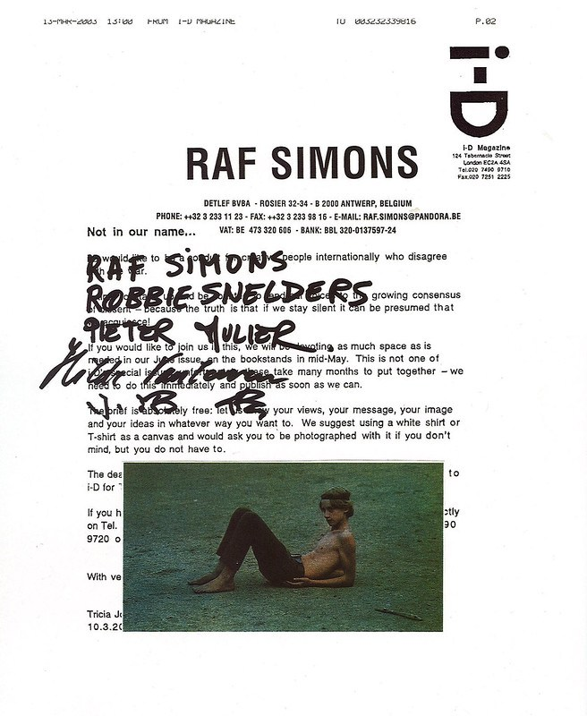 Soul i-D  Contribution from Raf Simons.