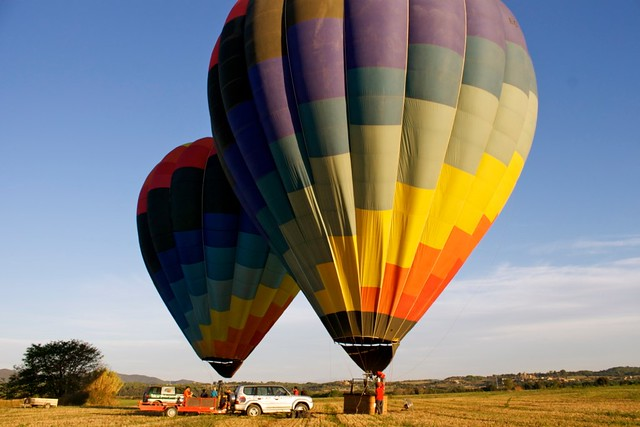 Getting ready for take off: hot air ballooning in Costa Brava, Catalunya, Spain
