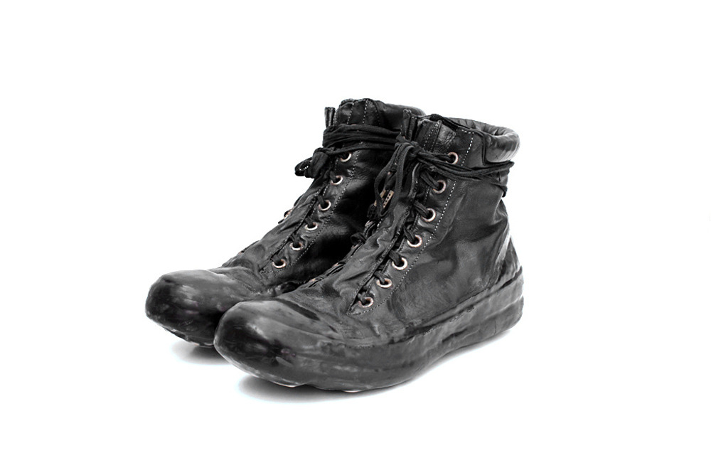 CAROL CHRISTIAN POELL BLACK OBJECT DYED DRIP-RUBBER LEATHER SNEAKER