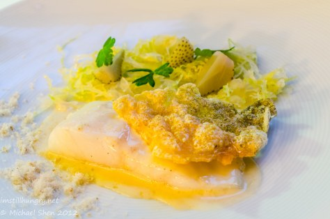 Marque - Murray cod w/cabbage, green strawberries, fish milk & roe