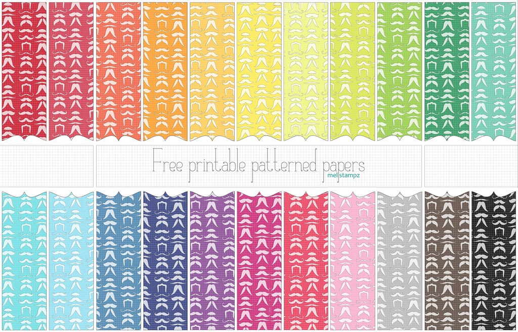 Mustache (solid) - free printable paper set Flickr