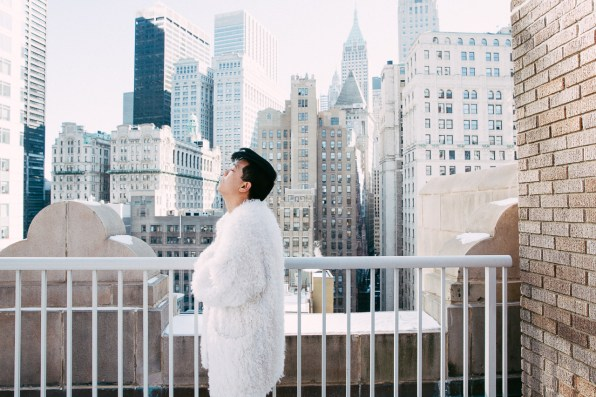 Bryanboy wearing a white Sonia Rykiel fur coat