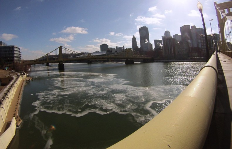 Ice on the Allegheny River, View from the Roberto Clemente Bridge - Pittsburgh, Pa., Feb. 12, 2015