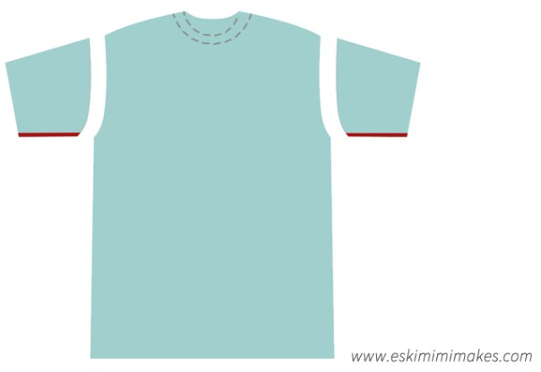 Modifying a t-shirt to fit: opening up the sleeves