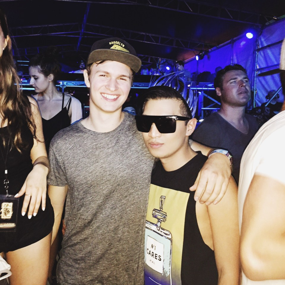 Ansel Elgort and Bryanboy at Martin Garrix Main Stage Ultra Music Festival 2015 Miami