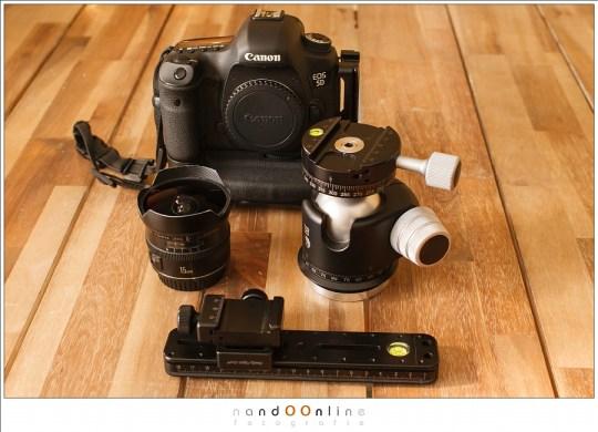 Fullframe camera, fisheye objectief, balhoofd (dat op het statief gaat) en nodalslide: de ingrediënten voor een panorama foto