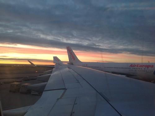 Air Europa Flight at Sunrise