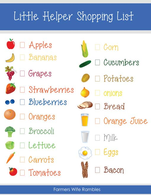 Free Pretend Play Kids Shopping List Printable - Farmer\u0027s Wife Rambles