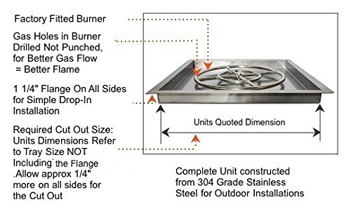 American Fireglass Square Drop In Pan With Spark Ignition
