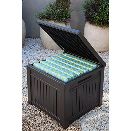 Keter Cube Wood Look 55 Gallon All Weather Garden Patio