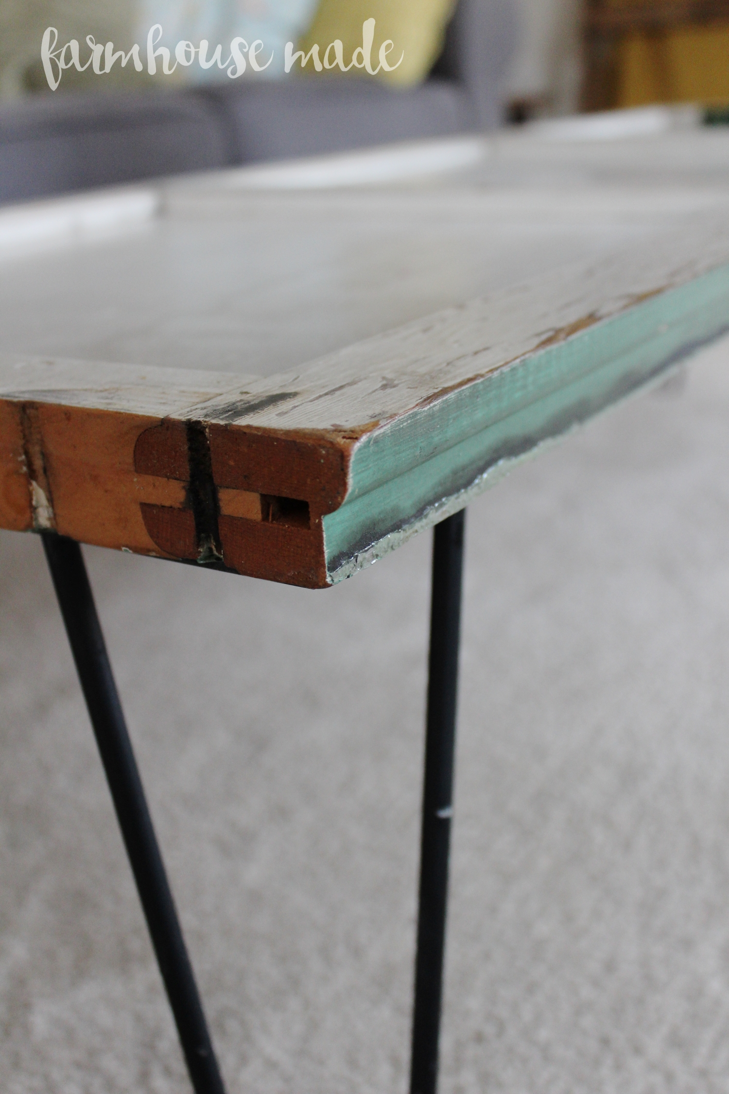 Diy Desk With Hairpin Legs Diy Coffee Table Using A Salvaged Shutter F A R M H O U S E
