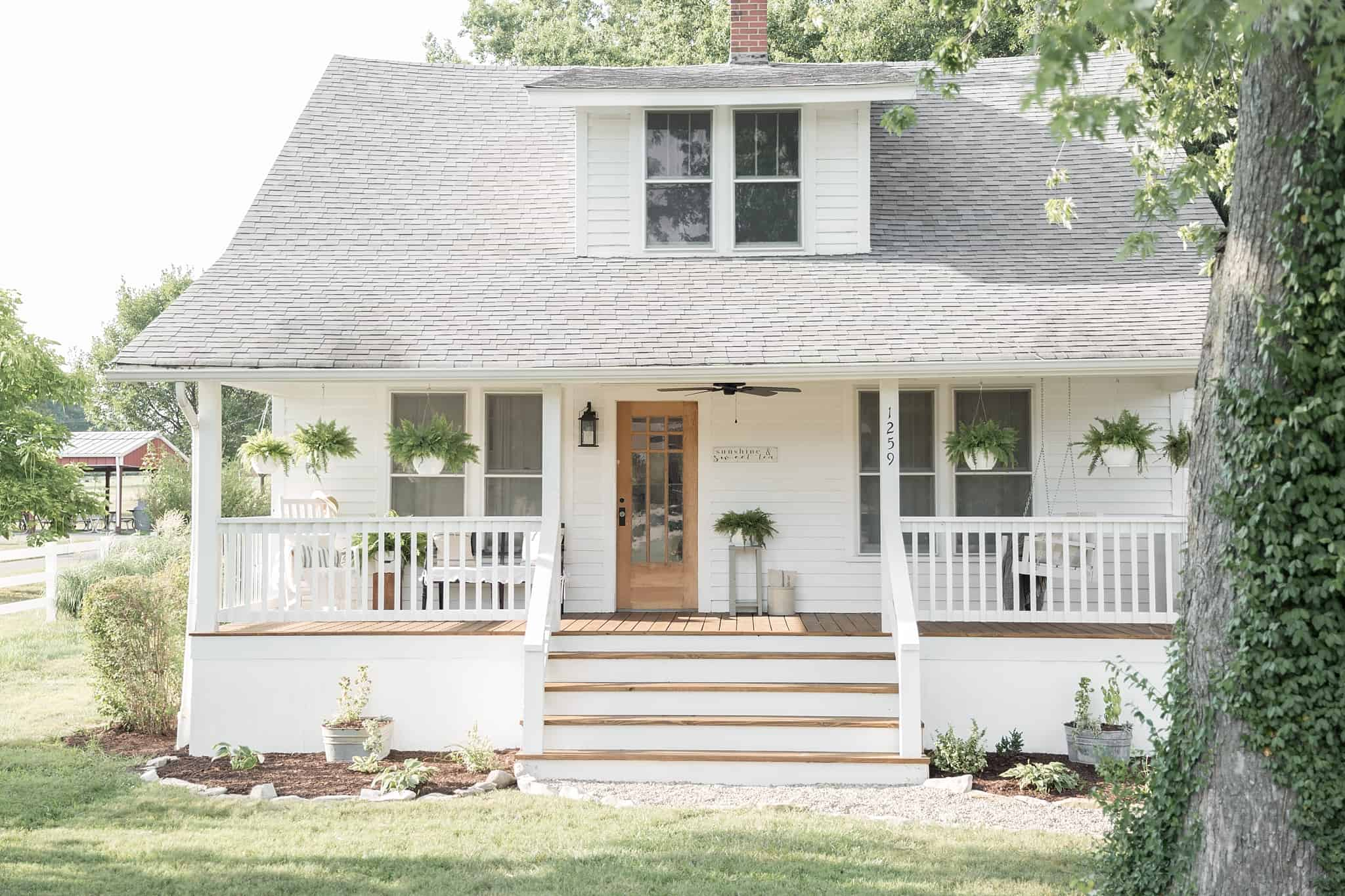 Farmhouse Front Porch Railing Ideas How To Cover Concrete Steps With Wood Farmhouse On Boone