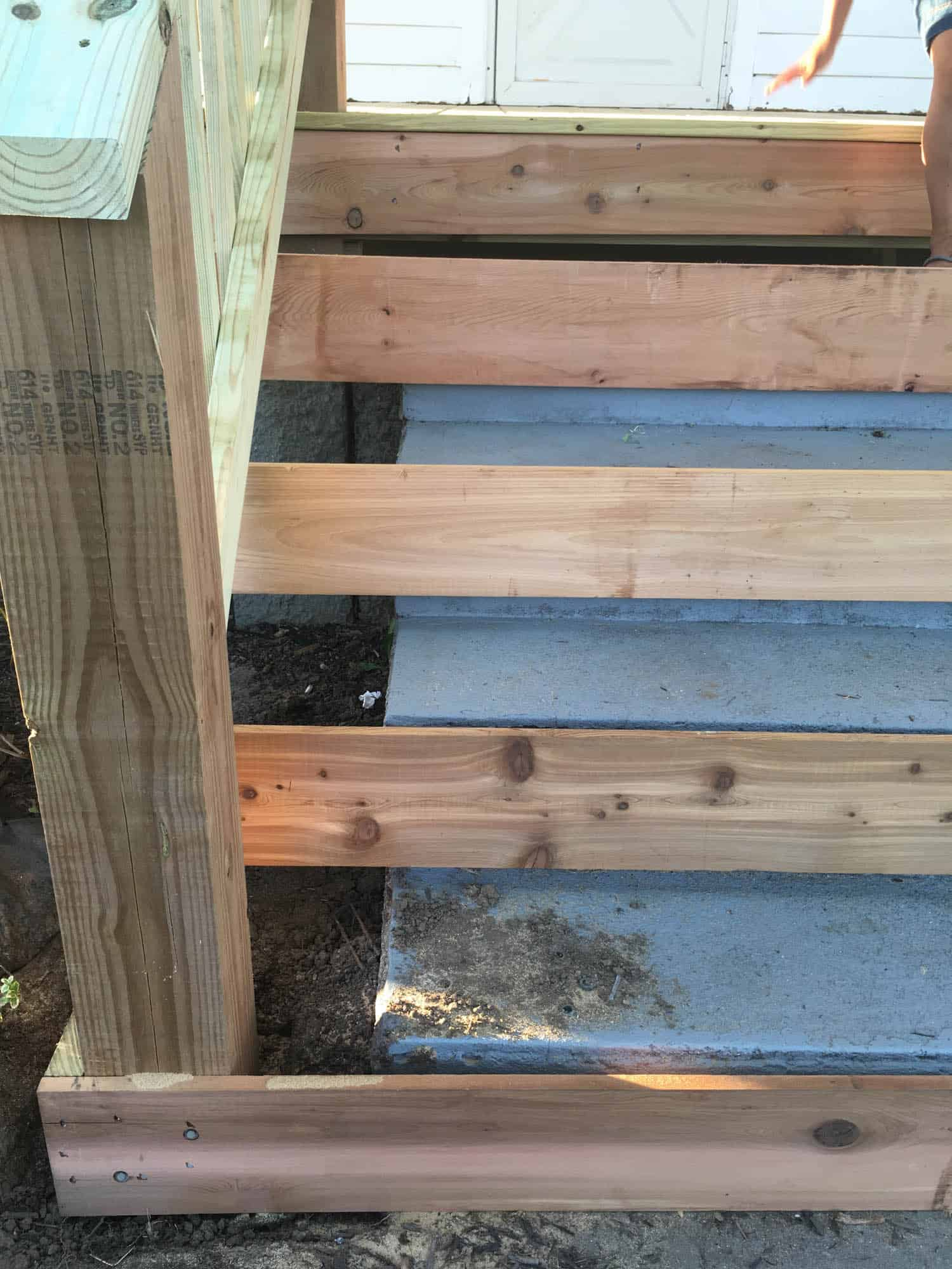 Wooden Steps How To Cover Concrete Steps With Wood Farmhouse On Boone
