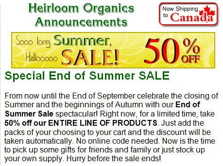 Heirloom Organics end of summer sale
