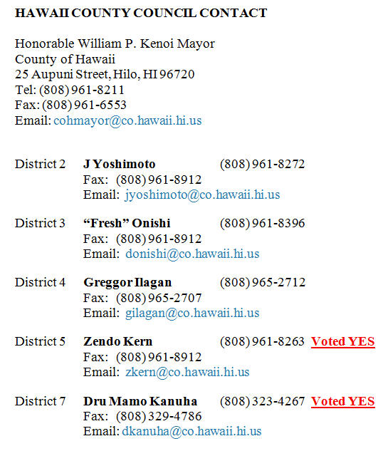 Hawaii County Council Contact