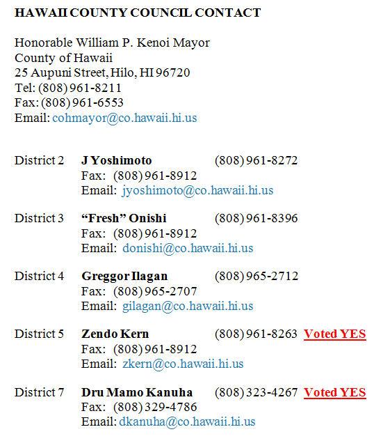 Hawaii County Council Contact