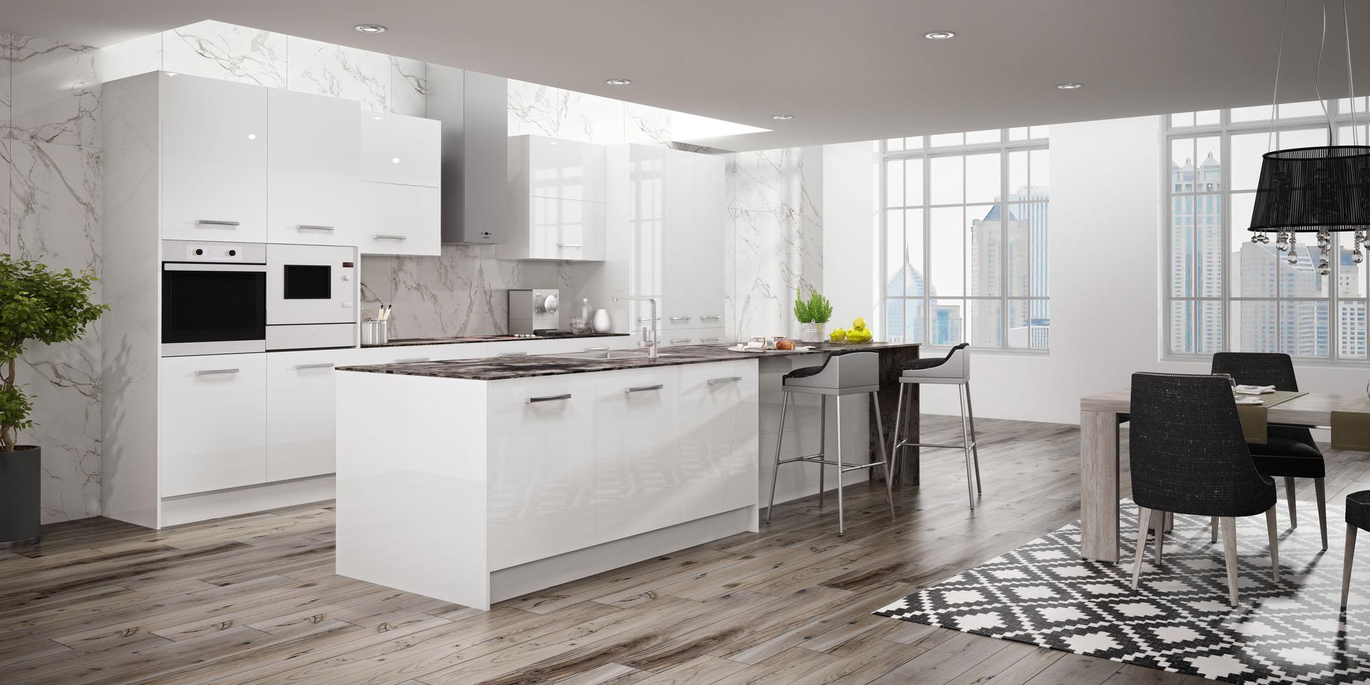 Cocina opciones isla de ventilaci n - Cocinas modernas blancas con isla ...
