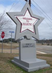 A photo of the welcome sign for Eclectic, Alabama