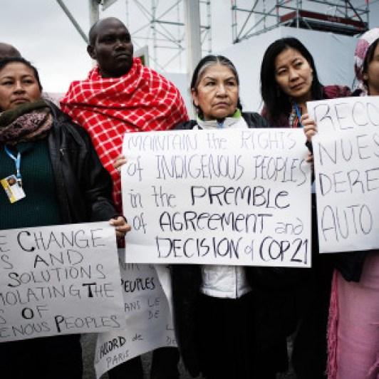 A delegação dos povos indígenas fazem manifestação na cúpula do clima de Paris – COP21 (Foto: Benjamin Géminel/ Cop21)