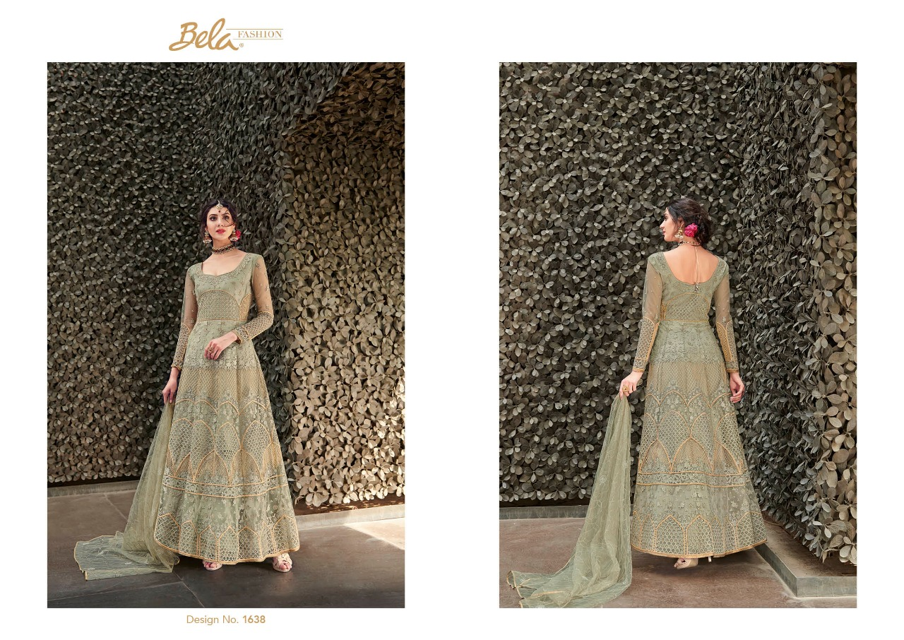 Regal Design Regal By Bela Fashion 1638 To 1646 Series Designer Wear Collection Anarkali Suits Colorful Stylish Fancy Beautiful Party Wear & Occasional Wear Net Embroidered Dresses At Wholesale Price