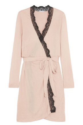 Eberjey Esther lace-trimmed jersey robe