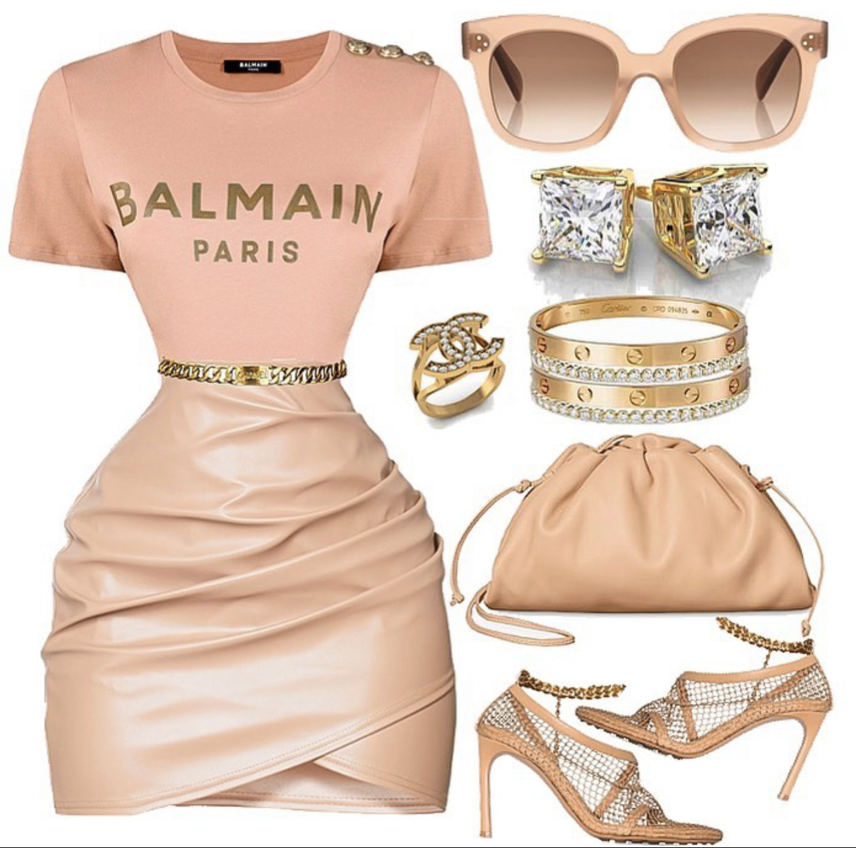 Nude Look Style Inspiration: How To Rock Nude Colors By @styledbyjovon Featuring Balmain Logo T-shirt, Bottega Veneta Mini Pouch Bag And Mesh Sandals, Celine 'tilda' Sunglasses, Cartier Love Bracelets, And Chanel Accessories! – Fashion