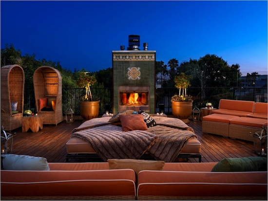 Petit Ermitage Private Rooftop Club Fireplace photo courtesy of publicist in GO AWAY with style on Fashion Daily Mag