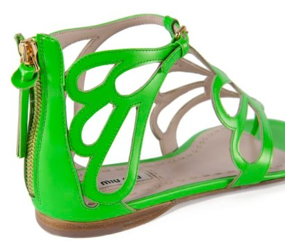 MIU MIU neon flats photo courtesy of miu miu on FashionDailyMag brigitte segura