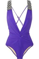 MARA HOFFMAN Beaded plunge-front swimsuit
