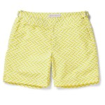 ORLEBRAR BROWN yellow pattern geo swim shorts