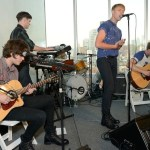 the drums performing at UGG launch with alec baldwin on FashionDailyMag