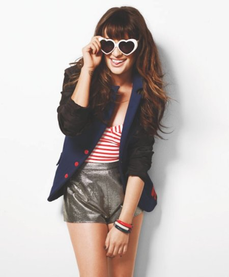 LEA MICHELLE COVERS NYLON heart sunnies on FashionDailyMag