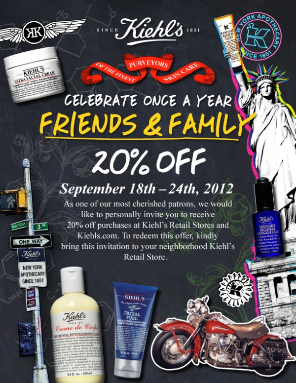 Kiehls Friends and Family sale 2012