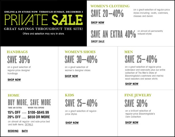 Bloomingdales Private Sale NOV 2012